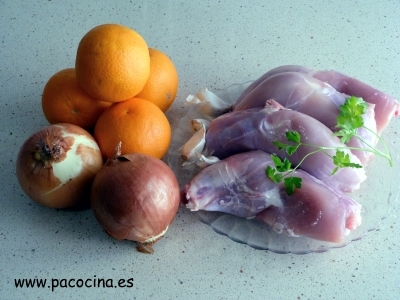 Pollo a la naranja ingredientes